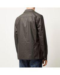 River Island - Gray Khaki Green Shirt Jacket for Men - Lyst