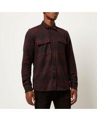 River Island - Dark Purple Check Soft Flannel Shirt for Men - Lyst