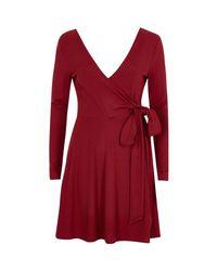 River Island   Dark Red Wrap Ballet Style Dress   Lyst