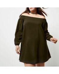 River Island Plus Khaki Green Bardot Swing Dress in Blue - Lyst 43434398a8673