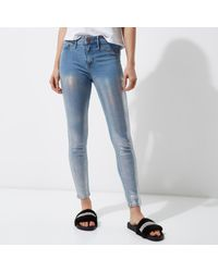 River Island - Mid Blue Metallic Coated Molly Jeggings - Lyst