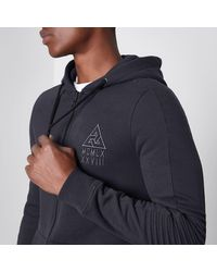 River Island - Gray Grey Biker Panel Sleeve Muscle Fit Hoodie for Men - Lyst