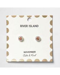 River Island - Orange November Birthstone Stud Earrings - Lyst
