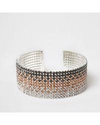 River Island   Metallic Silver Tone Ombre Diamante Cuff Bracelet Silver Tone Ombre Diamante Cuff Bracelet   Lyst