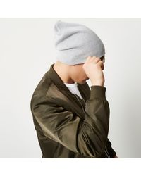 River Island - Gray Grey Slouchy Beanie Hat - Lyst