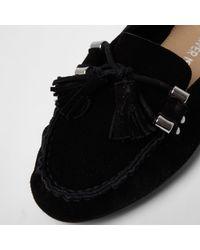 River Island - Black Suede Tassel Mocassin Loafers - Lyst