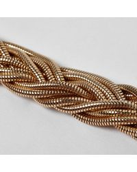River Island - Metallic Gold Tone Snake Chain Plaited Necklace - Lyst