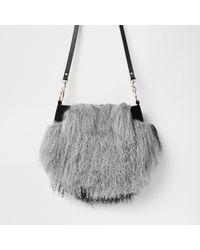 f21bd308c8 Lyst - River Island Leather Mongolian Fur Cross Body Bag in Gray