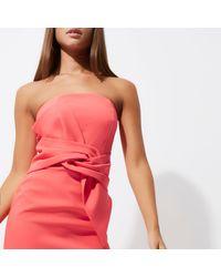 River Island - Orange Coral Twist Bandeau Bodycon Dress - Lyst