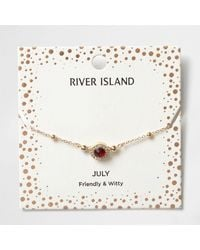 River Island | Red Gem July Birthstone Bracelet | Lyst