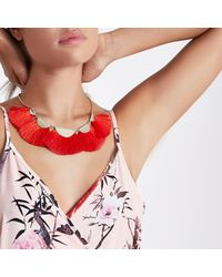 River Island - Red Tassel Fan Necklace - Lyst