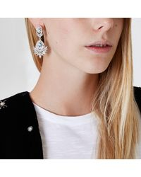 River Island - Metallic Silver Tone Crystal Drop Earrings - Lyst