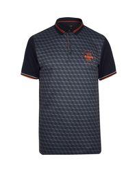 f5ec2ffc Lyst - River Island Navy Print Colour Block Slim Fit Polo Shirt in ...