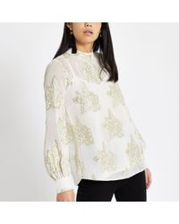 River Island - White Floral Jacquard Tie Front Top - Lyst