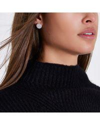 River Island - Metallic Silver Tone Diamante Bauble Stud Earrings Silver Tone Diamante Bauble Stud Earrings - Lyst