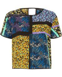 River Island - Green Floral Print T-shirt - Lyst