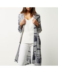 River Island - Gray Blue Print Belted Kimono - Lyst
