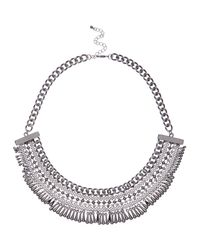 River Island - Metallic Silver Tone Bead Bib Necklace - Lyst