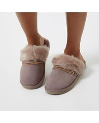River Island - Purple Suede Faux Fur Trim Mule Slippers - Lyst