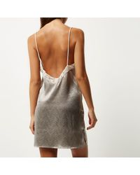 River Island - Gray Grey Lace Slip - Lyst