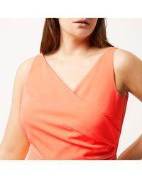 River Island - Pink Ri Plus Fluro Coral Wrap Bodycon Dress - Lyst