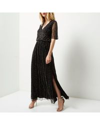 River Island - Black Embellished Chiffon Maxi Dress - Lyst