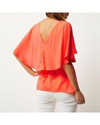 River Island | Orange Coral Cape Back V-neck T-shirt | Lyst