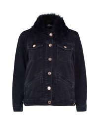 River Island | Black Denim Jacket With Faux Fur Collar | Lyst