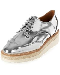 River Island | Gray Silver Leather Platform Espadrille Brogues | Lyst