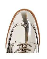 River Island - Gray Silver Leather Platform Espadrille Brogues - Lyst