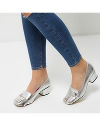 River Island - Gray Silver Tassel Heeled Loafers - Lyst