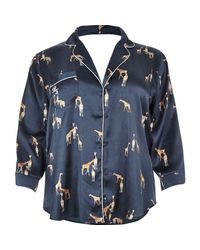 River Island - Blue Plus Navy Giraffe Print Satin Pyjama Shirt - Lyst