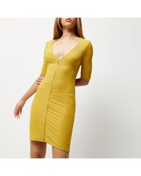 River Island - Dark Yellow Zip Through Bodycon Dress - Lyst