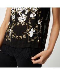 River Island - Black Oriental Embellished Cami Top - Lyst