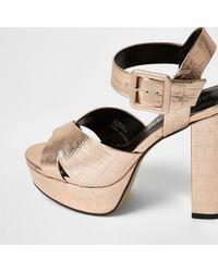 River Island - Pink Rose Gold Wide Fit Platform Heel Sandals - Lyst