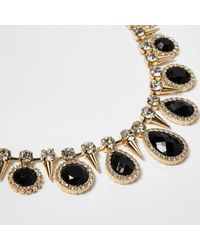 River Island - Metallic Gold Tone Gem Statement Choker Necklace - Lyst