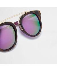 River Island - Brown Tortoise Shell Purple Lens Sunglasses - Lyst