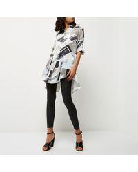 River Island - Gray Grey Print Longline Shirt - Lyst