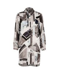 River Island | Gray Grey Print Longline Shirt | Lyst