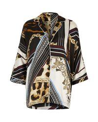 River Island - Black Scarf Print Oversized Pyjama Shirt - Lyst