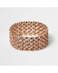 River Island   Multicolor Rose Gold Crystal Embellished Bracelet   Lyst