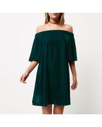River Island | Dark Green Velvet Bardot Swing Dress | Lyst