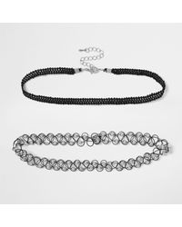 River Island | Black And Silver '90s Choker Pack | Lyst