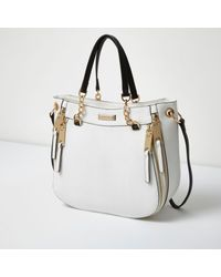 River Island - White Chain Handle Zip Tote Bag - Lyst