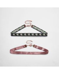 River Island | Pink And Black Choker Necklace Pack | Lyst