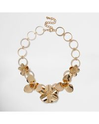 River Island | Metallic Gold Tone Large Flower Bib Necklace | Lyst