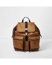 River Island | Burnt Orange Satin Backpack | Lyst