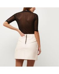 River Island - Black Dotted Mesh Top - Lyst