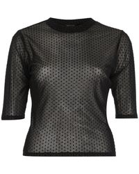 River Island | Black Dotted Mesh Top | Lyst
