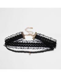 River Island - Black Lace Drop Choker - Lyst